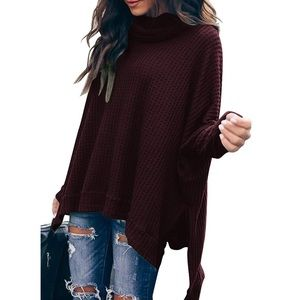 Sweaters - Cowl Neck Batwing Sleeve Sweater